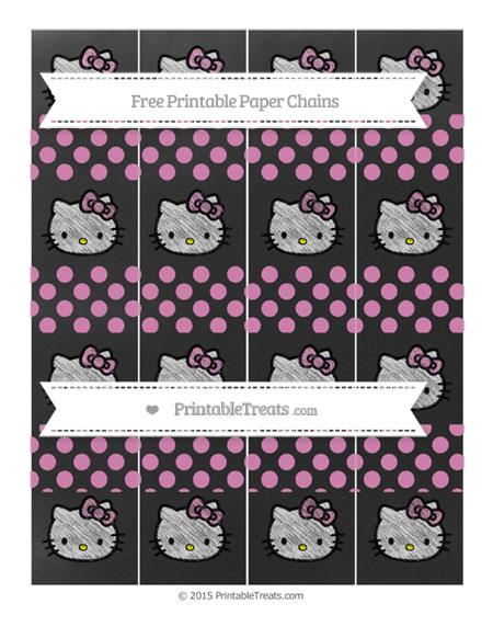 Free Pastel Fuchsia Dotted Pattern Chalk Style Hello Kitty Paper Chains