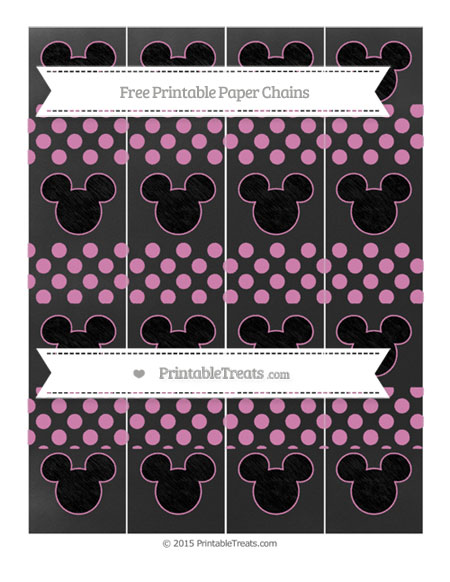 Free Pastel Fuchsia Dotted Pattern Chalk Style Mickey Mouse Paper Chains
