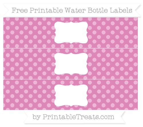 Free Pastel Fuchsia Dotted Pattern Water Bottle Labels