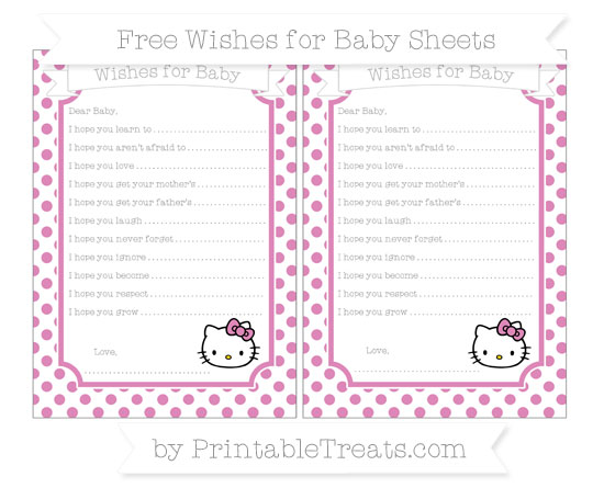 Free Pastel Fuchsia Dotted Pattern Hello Kitty Wishes for Baby Sheets