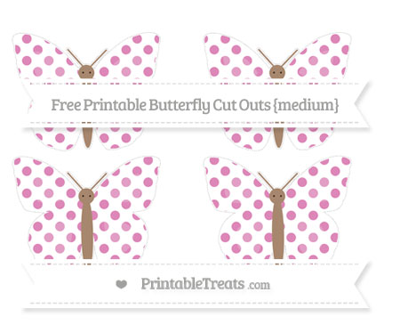 Free Pastel Fuchsia Dotted Pattern Medium Butterfly Cut Outs