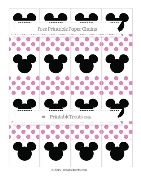 Free Pastel Fuchsia Dotted Pattern Mickey Mouse Paper Chains