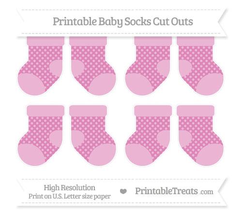 Free Pastel Fuchsia Dotted Pattern Small Baby Socks Cut Outs