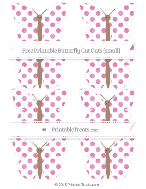 Free Pastel Fuchsia Dotted Pattern Small Butterfly Cut Outs