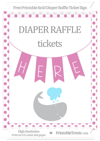 Free Pastel Fuchsia Dotted Whale 8x10 Diaper Raffle Ticket Sign