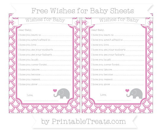 Free Pastel Fuchsia Fish Scale Pattern Baby Elephant Wishes for Baby Sheets