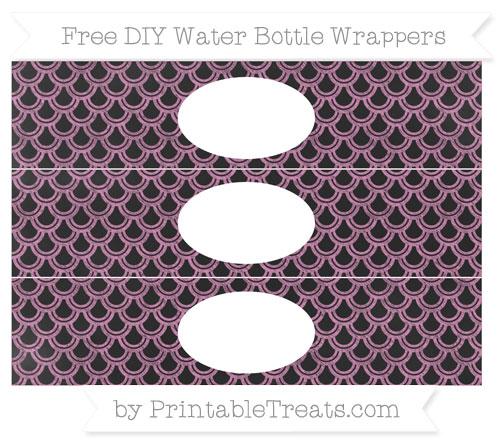 Free Pastel Fuchsia Fish Scale Pattern Chalk Style DIY Water Bottle Wrappers