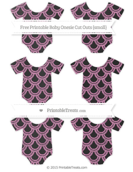 Free Pastel Fuchsia Fish Scale Pattern Chalk Style Small Baby Onesie Cut Outs