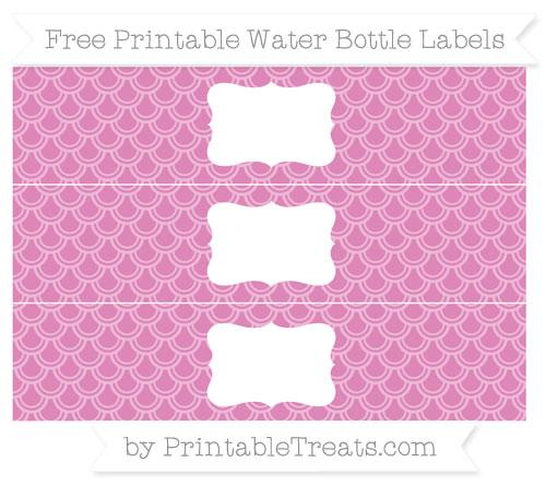 Free Pastel Fuchsia Fish Scale Pattern Water Bottle Labels