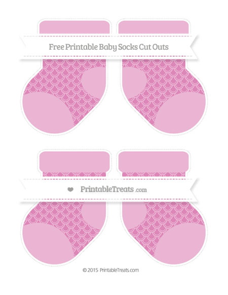 Free Pastel Fuchsia Fish Scale Pattern Medium Baby Socks Cut Outs