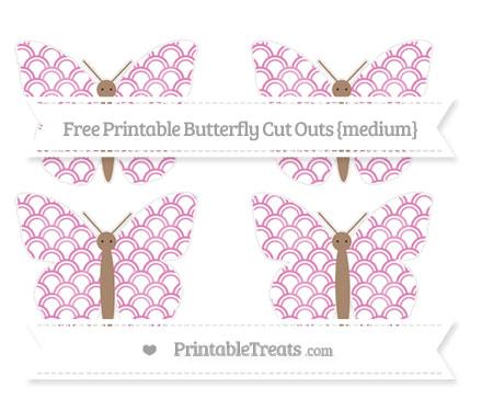 Free Pastel Fuchsia Fish Scale Pattern Medium Butterfly Cut Outs