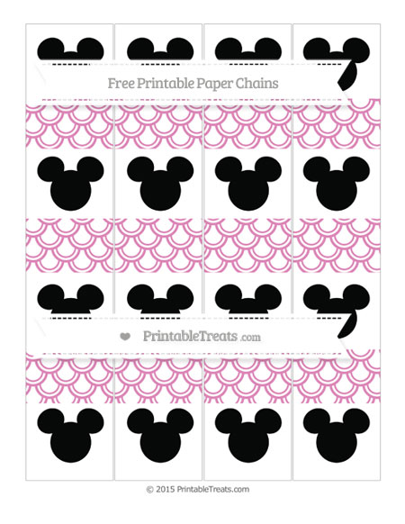 Free Pastel Fuchsia Fish Scale Pattern Mickey Mouse Paper Chains