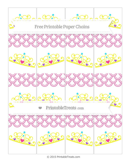 Free Pastel Fuchsia Fish Scale Pattern Princess Tiara Paper Chains