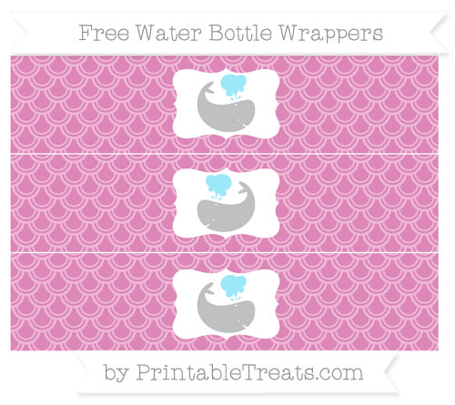 Free Pastel Fuchsia Fish Scale Pattern Whale Water Bottle Wrappers