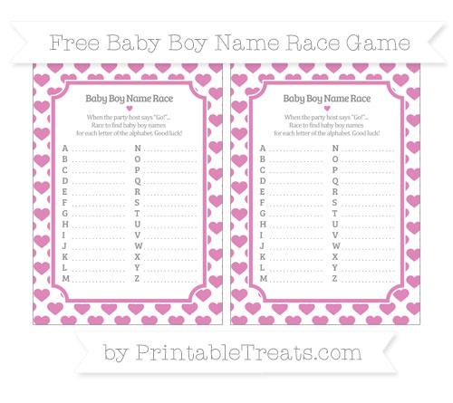 Free Pastel Fuchsia Heart Pattern Baby Boy Name Race Game