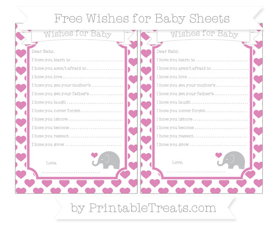 Free Pastel Fuchsia Heart Pattern Baby Elephant Wishes for Baby Sheets