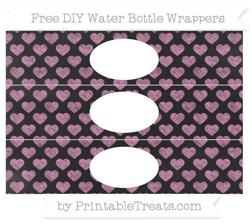 Free Pastel Fuchsia Heart Pattern Chalk Style DIY Water Bottle Wrappers