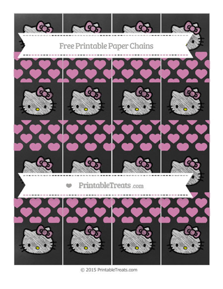 Free Pastel Fuchsia Heart Pattern Chalk Style Hello Kitty Paper Chains
