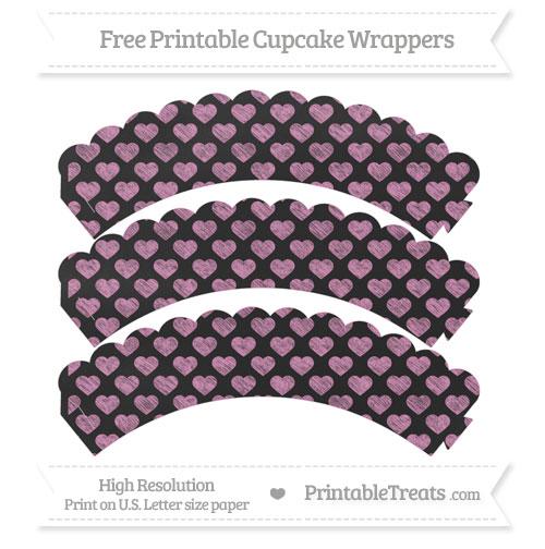 Free Pastel Fuchsia Heart Pattern Chalk Style Scalloped Cupcake Wrappers