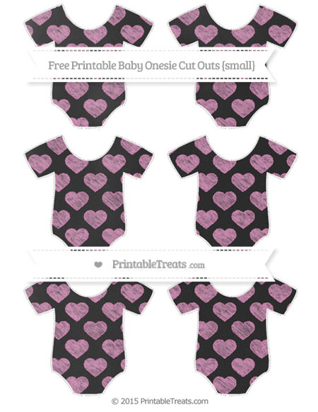 Free Pastel Fuchsia Heart Pattern Chalk Style Small Baby Onesie Cut Outs