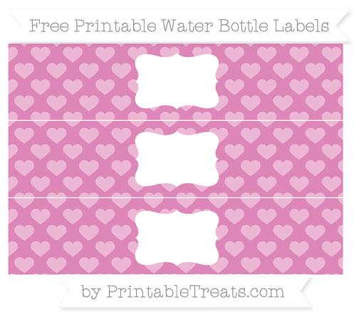 Free Pastel Fuchsia Heart Pattern Water Bottle Labels