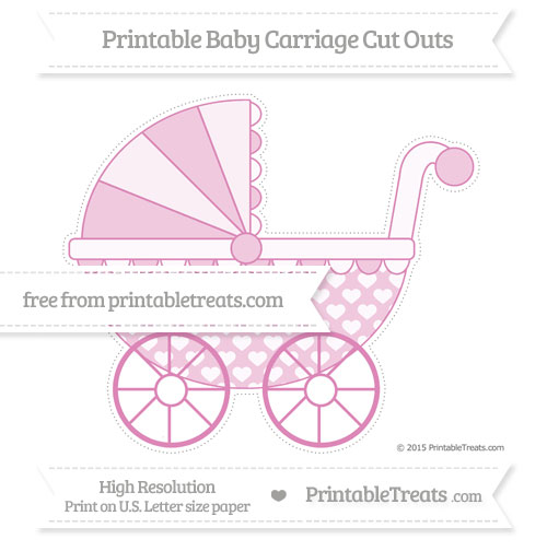 Free Pastel Fuchsia Heart Pattern Extra Large Baby Carriage Cut Outs