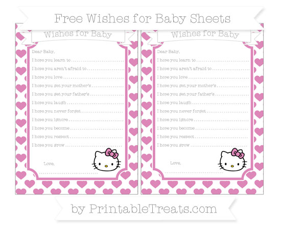 Free Pastel Fuchsia Heart Pattern Hello Kitty Wishes for Baby Sheets