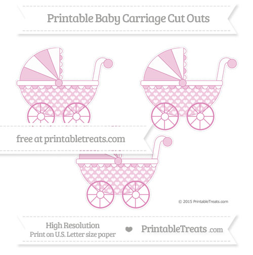 Free Pastel Fuchsia Heart Pattern Medium Baby Carriage Cut Outs