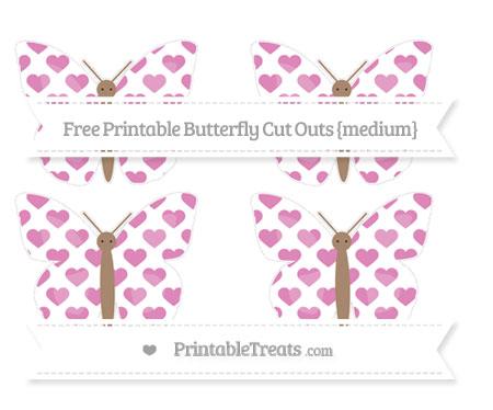 Free Pastel Fuchsia Heart Pattern Medium Butterfly Cut Outs