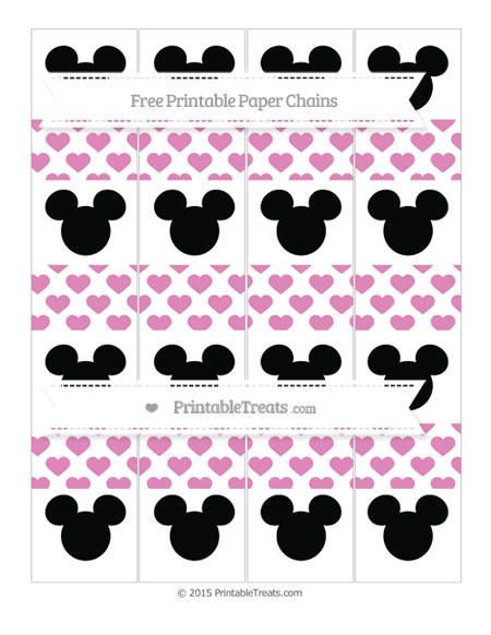 Free Pastel Fuchsia Heart Pattern Mickey Mouse Paper Chains