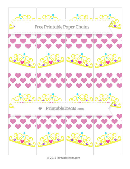 Free Pastel Fuchsia Heart Pattern Princess Tiara Paper Chains