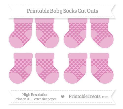 Free Pastel Fuchsia Heart Pattern Small Baby Socks Cut Outs
