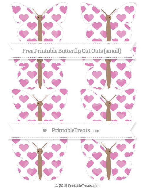 Free Pastel Fuchsia Heart Pattern Small Butterfly Cut Outs