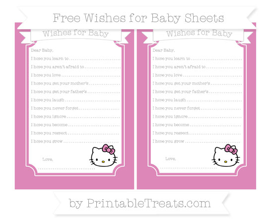 Free Pastel Fuchsia Hello Kitty Wishes for Baby Sheets