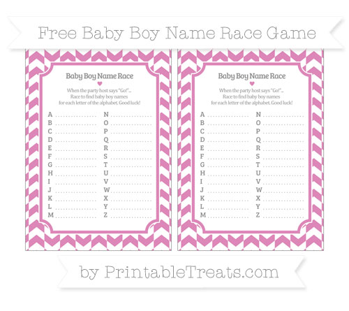 Free Pastel Fuchsia Herringbone Pattern Baby Boy Name Race Game