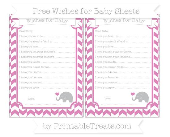 Free Pastel Fuchsia Herringbone Pattern Baby Elephant Wishes for Baby Sheets