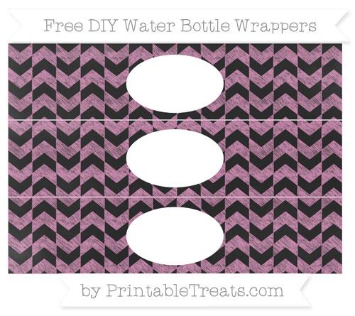 Free Pastel Fuchsia Herringbone Pattern Chalk Style DIY Water Bottle Wrappers