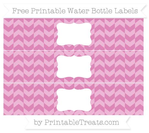 Free Pastel Fuchsia Herringbone Pattern Water Bottle Labels