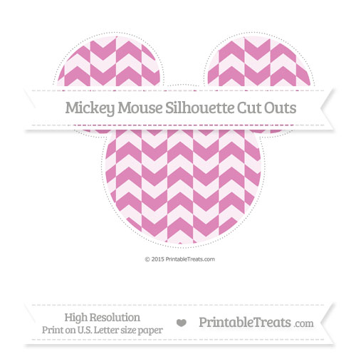 Free Pastel Fuchsia Herringbone Pattern Extra Large Mickey Mouse Silhouette Cut Outs