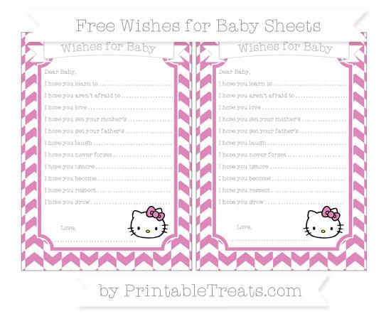 Free Pastel Fuchsia Herringbone Pattern Hello Kitty Wishes for Baby Sheets