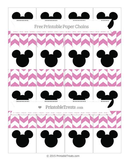 Free Pastel Fuchsia Herringbone Pattern Mickey Mouse Paper Chains
