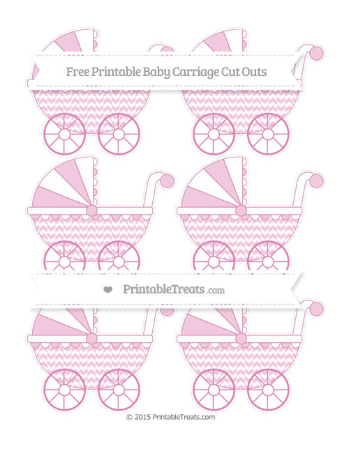 Free Pastel Fuchsia Herringbone Pattern Small Baby Carriage Cut Outs