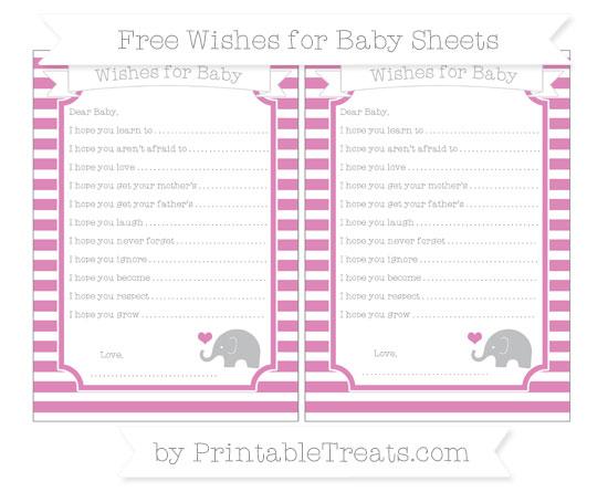 Free Pastel Fuchsia Horizontal Striped Baby Elephant Wishes for Baby Sheets