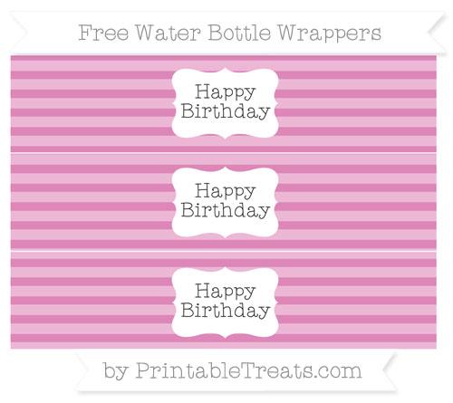 Free Pastel Fuchsia Horizontal Striped Happy Birhtday Water Bottle Wrappers