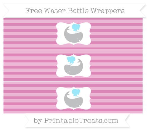 Free Pastel Fuchsia Horizontal Striped Whale Water Bottle Wrappers