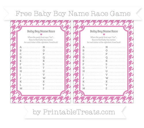 Free Pastel Fuchsia Houndstooth Pattern Baby Boy Name Race Game