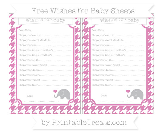 Free Pastel Fuchsia Houndstooth Pattern Baby Elephant Wishes for Baby Sheets