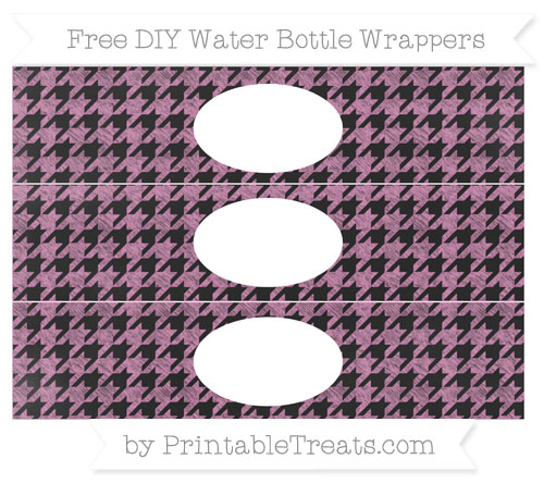 Free Pastel Fuchsia Houndstooth Pattern Chalk Style DIY Water Bottle Wrappers