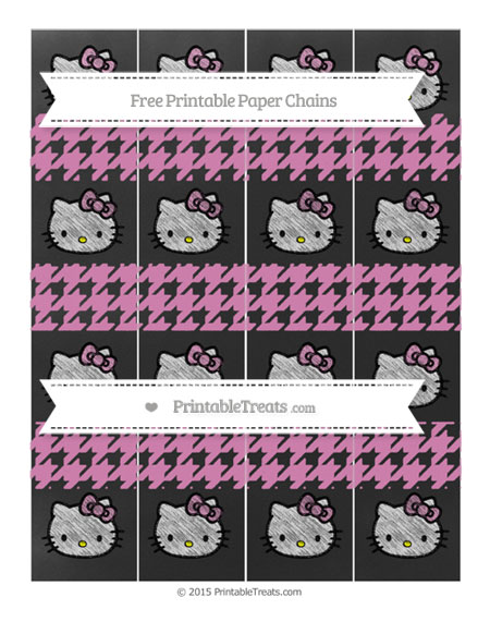 Free Pastel Fuchsia Houndstooth Pattern Chalk Style Hello Kitty Paper Chains