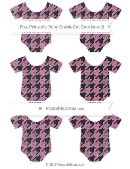 Free Pastel Fuchsia Houndstooth Pattern Chalk Style Small Baby Onesie Cut Outs